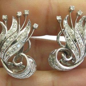 Jewelry - 18Kt Leaf Motif Diamond White Gold Huggie Earrings